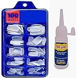QKYPZO Artificial Nails Set With Glue Acrylic Face Nails Set Of 100 Pcs and Artificial Nail Glue 3gm Artificial Nails Reusabl