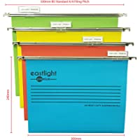 Eastlight Premium Filing Cabinet A4 Suspension Files with Tabs and Inserts [Pack 25 ] 100% Recycled Manilla. Made in The UK, Please Check Size Required **