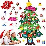 Albero di Natale in Feltro per Bambini, Albero Natale Feltro con 34 Pezzi Ornamenti Staccabili, 113cm Alberi di Natale per Re
