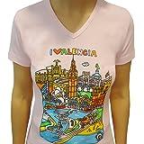 Camiseta Valencia · Mujer · Cuello V · Rosa · Modelo: Waterfront & Monuments