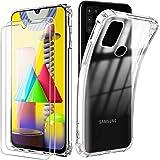 Reshias Coque pour Samsung Galaxy M31,Souple Transparent TPU Silicone Anti-Chute Housse Étui avec Deux Verre Trempé Film Protection Écran pour Samsung Galaxy M31 (6,4 Pouces)