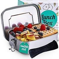 Boite à Repas en Acier Inox avec Compartiments et Couverts - Hermetique - Lavable au Lave-vaisselle - Lunchbox de 1,4L