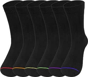 6 Pairs Mens Business Socks, Mens Cotton Black Calf Work Socks for Sports Breathable,Classic Dress Socks for Men