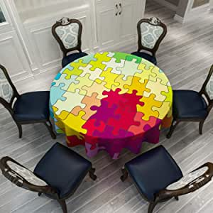 Children Toys Collection Abstract Fractal Cartoon Image Round Table Cover for Indoor and Outdoor Events 60 Inch Colorful Puzzle Pieces Multicolored VVA Round Tablecloth