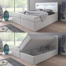 Boxspringbett 160x200 Weiß mit Bettkasten LED Kopflicht Hotelbett Brüssel Lift