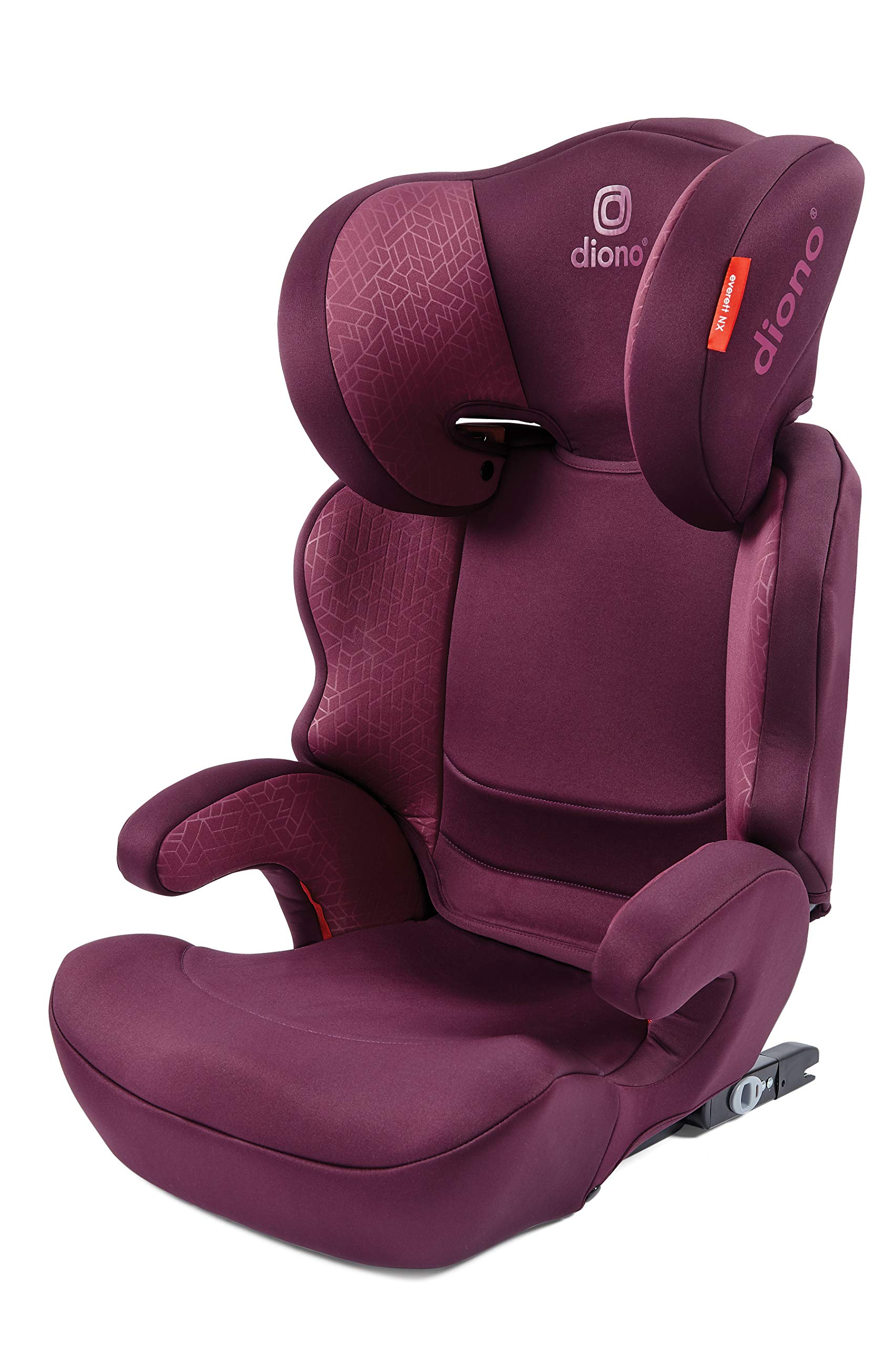 Diono Everett NXT Fix Highback Booster Seat - 7 Position Adjustable Headrest, Group 2/3 (15 - 36 kg and Up to 160 cm In Height), Approx. 4-12 Years, Plum Diono Designed to grow: group 2/3 car seat is suitable from 18kg - 50kg, approx. 4 to 12 years old. The 7-position adjustable headrest can be altered using the handle on the back of the seat Superior safety: cushioned side impact protection has been engineered and tested to the highest standards. The ergonomic design includes extra padding to provide comfort and security as a child grows Universal connectivity: parents can install the seat using the vehicle seatbelt or use the integrated rigid latch connectors that anchor the seat to the car allowing the child to buckle themselves in 1