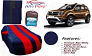 Auto Pearl Tripple Stitched Red Blue Matty Car Body Cover with Mirror Pockets, Buckle Belt & Carry Bag for - Duster 2016