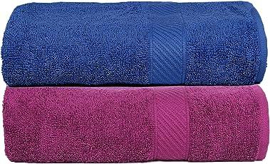 Casa Copenhagen 430 GSM Combed Cotton Eternal Bath Towel Set, 60 X 120 cm (Pack of 2)(Midnight Blue & Purple)