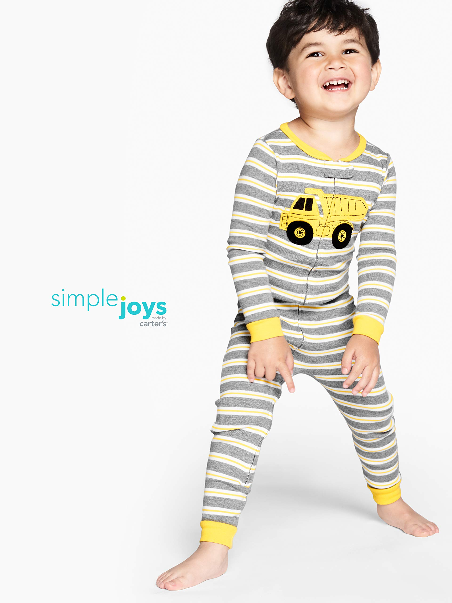 Simple Joys by Carter's pijama de algodón sin pies para bebés y niños pequeños, paquete de 3 2