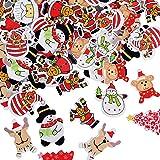 100pcs Noël Boutons Bois en 9 Formes Mixtes Assortis Colorés avec 2 Trous pour Deco Noël Mercerie Couture Arinasat Album et S