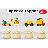 WoW Party Studio Construction Theme Birthday Party Cup Cake Toppers (20 Pcs)