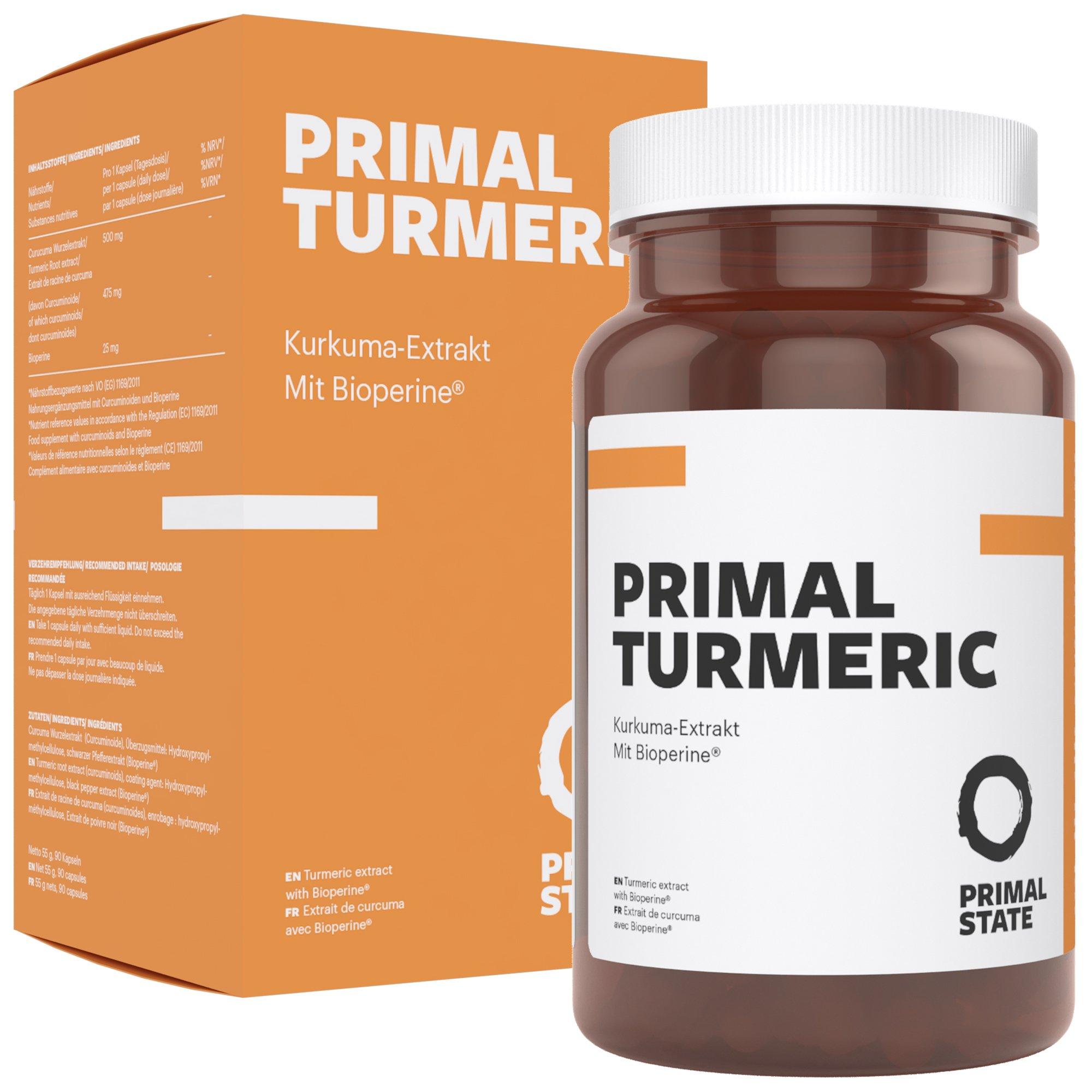 Kurkuma Kapseln Hochdosiert | PRIMAL TURMERIC | Hochdosiertes Curcuma + Bioperin (Schwarzer Pfeffer Extrakt) | Premium Kurkumin ohne Zusatzstoffe | Laborgeprüft | 3 Monatspackung – 90 vegane Kapseln