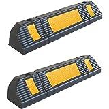 SNS SAFETY LTD Rubberen Wielstop Parkeerplaats Begrenzer voor Garages, 60x12x10 cm, Zwart Geel (verpakking van 2)