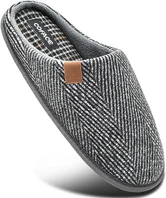 COFACE Pantofole Uomo Plaid, Comoda Memory Foam Calde Scarpe da Casa in Lana con Suola Antiscivolo Primavera/Autunno