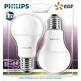 Philips 8718696505724 Lot de 2 Ampoules LED Standard Culot E27 Plastique Blanc 11 x 6 cm 9 W