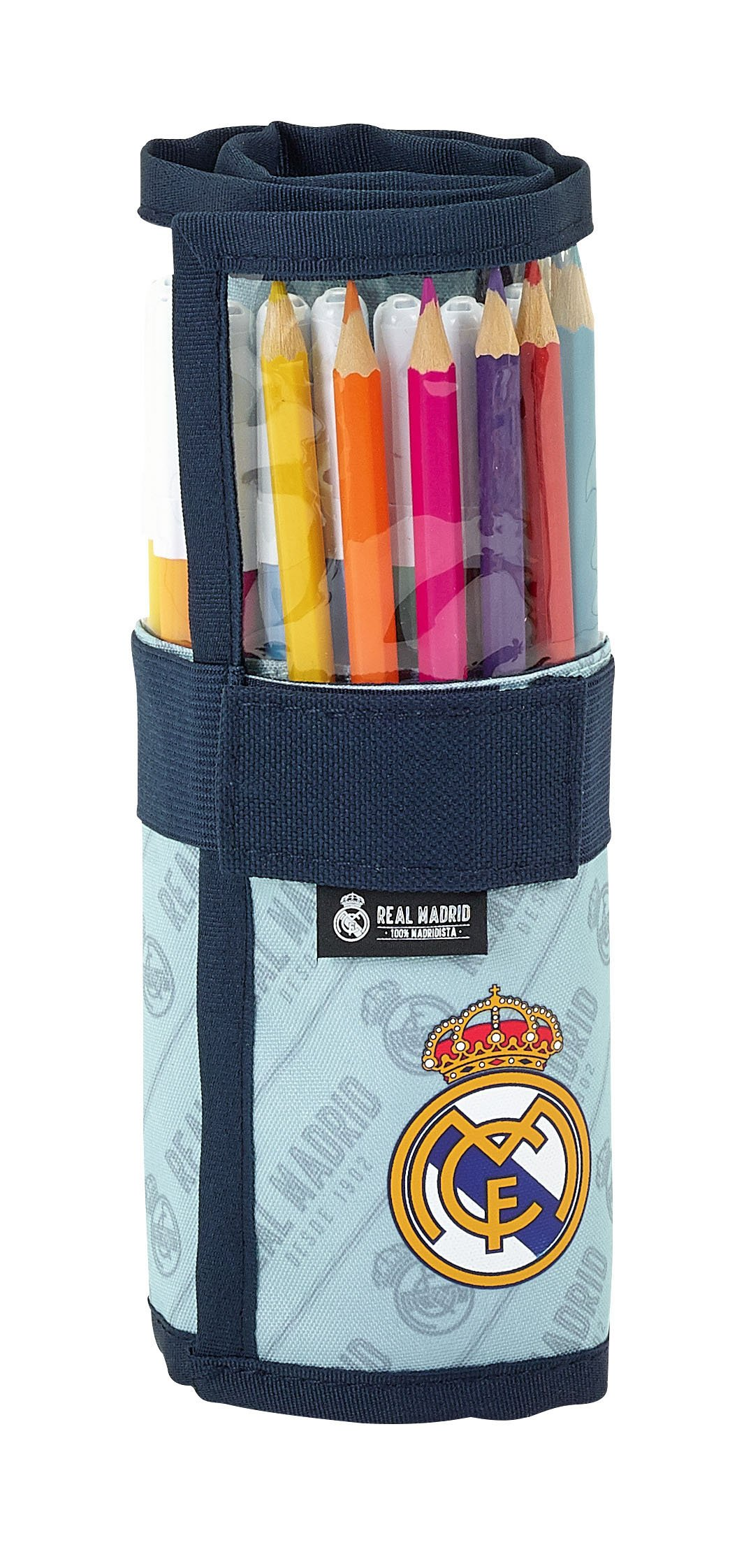 Safta Estuche Enrollable Real Madrid Corporativa Oficial Útiles Incluidos 70x200mm