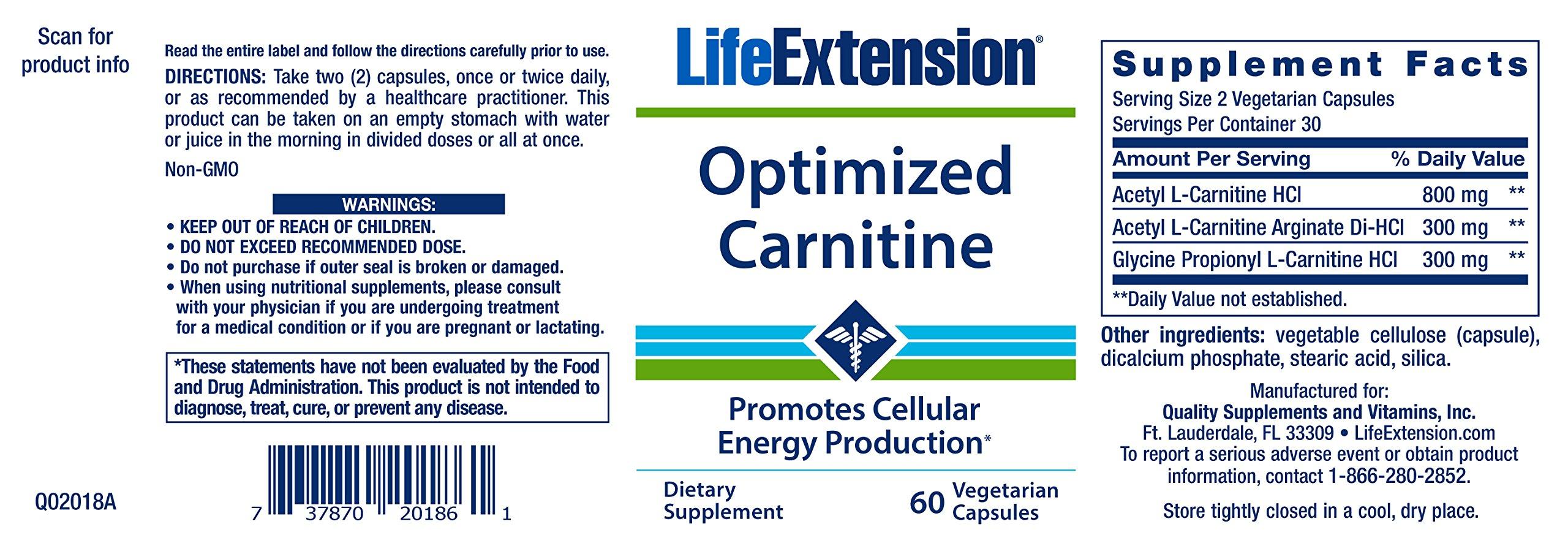 Optimized Carnitine 60 Vegetarian Capsules