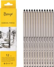 Bianyo Black Charcoal Pencils - 12 Piece Set