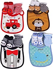 WonderKart Baby Cute and Adorable Soft Bibs, Booties and Mittens Combo (Multicolour) - Set of 1