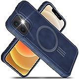 """Migeec Étui en Cuir PU pour iPhone 12 et iPhone 12 Pro 6,1"""" avec Chargement magnétique renforcé Antichoc Fin Hybride – Bleu"""