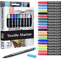 Siumir 20 Colors Pennarelli per Tessuti, Textile Pennarelli Penne Ideali per T-Shirts, Scarpe, Zaini