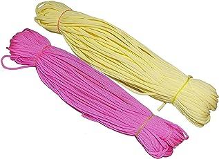 Happycraft Nylon Poly Propylene Macrame Cord 4 ply for Handicrafts, 60m Each Cord (Pink & Yellow, MacrameCordCombo01) - Set of 2