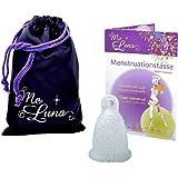 Me Luna Coupe menstruelle Classic, bague, bleu/paillettes, Taille S
