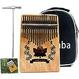 VLVEE Kalimba 17 Clés Pouce Piano, Kalimba Instrument avec Instructions d'étude/Tuning Hammer/Portable sac, bois Acajou, Haut