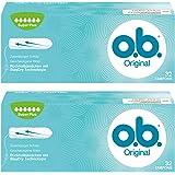 o.b. Original Super Plus Tampons mit geschwungenen Rillen – Für zuverlässigen Schutz ideal für sehr starke Tage – 2 x 32er Pack