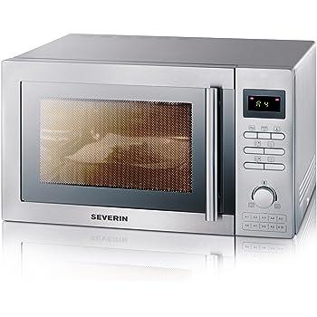 SEVERIN MW 7848 3-in-1 Mikrowelle (mit Grill- und Heißluftfunktion, Inkl. Drehteller (Ø 31,5 cm) und Grillrost) gebürsteter edelstahl