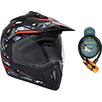 Vega Off Road D/V Camo Dull Black Red Helmet-M and Vega Safety Cable Lock Dull Orange Black