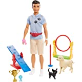 Ken Dog Trainer Playset with Doll, 2 Dog Figures, Hoop Ring, Balance Bar, Jumping Bar, Trophy and 2 Winner Ribbons for Ages 3