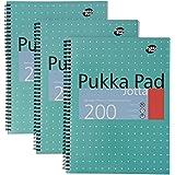 Pukka Pads Metallic Jotta - Cuaderno de espiral doble (3 unidades, A4, 200 hojas microperforadas, 80 g/m², raya de 8 mm, con