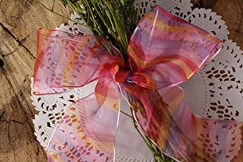 Wired Multicoloured Shaded Sheer Ribbon with Horizontal Stripes in Shades of red, Pink, Yellow and Purple