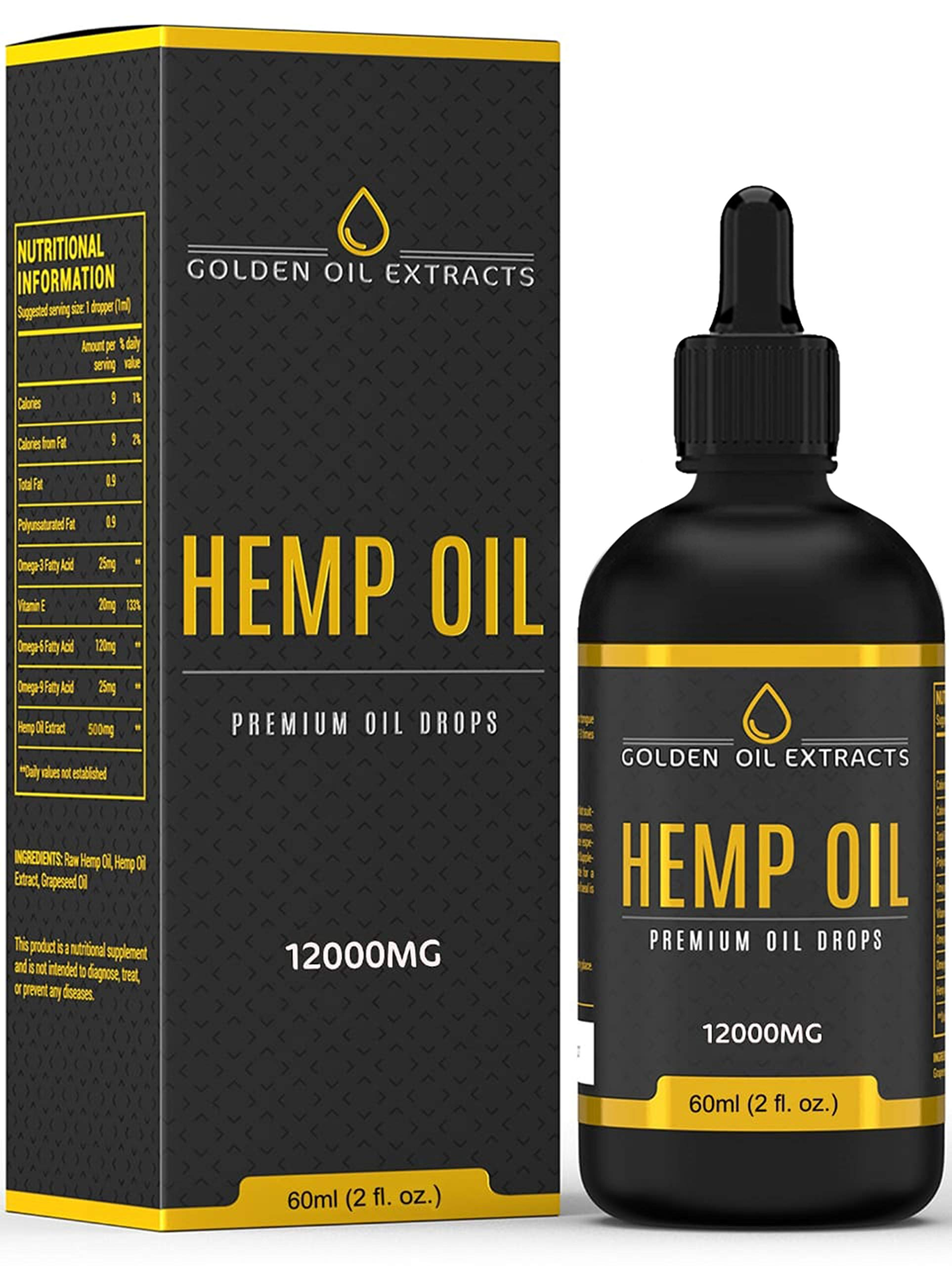 Golden Oil Extracts 12,000mg 60ml High Strength Liquid Hemp Oil Drops 60% Relief Omega 3