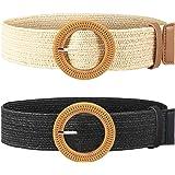 Cinturón elástico trenzado de paja con hebilla de estilo madera para mujer, 2 unidades