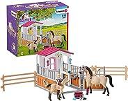 اسطبل حصان سشليش مع أحصنة عربية وعدة تمشيط، متعددة الألوان