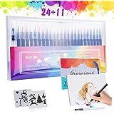 Zacro 24 Colores Rotuladores Pinceles Acuarelables,Pluma de Pinceles,1 Pincel de Agua,2 Plantillas y 8 Pcs Papeles de Dibujar