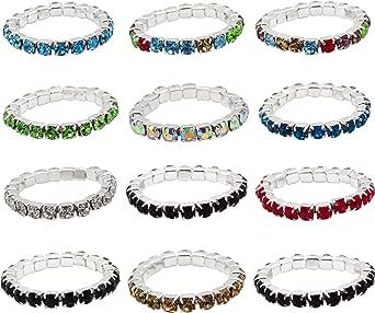 keland 12pcs anello elastico di cristallo di colore misto del lotto del lotto all'ingrosso dei monili del corpo