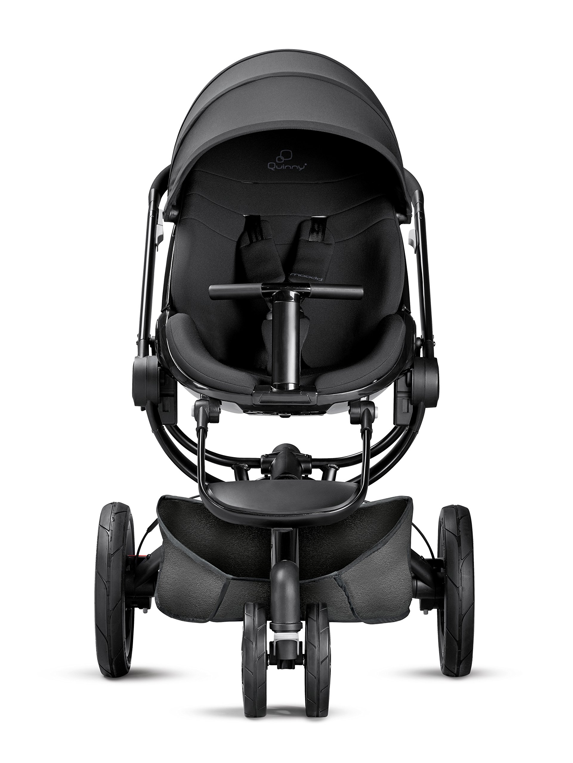 Quinny Moodd Pushchair Frame, Black Devotion Maxi-Cosi Stylish urban pushchair with cozy baby nest - suitable from birth to 15 kg (approx. 3.5 years) Foam filled comfort tyres and lockable front swivel wheels for a smooth ride Reversible seat unit with 3 recline position (including lie-flat options for newborns) 2