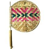 Das Departmental Store Bamboo Hand Held Fan (stick: 16 inch, pankha: 10 inch, Golden Yellow)