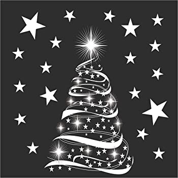 Star Tree with Stars Window Cling Stickers - Seasonal Christmas ...