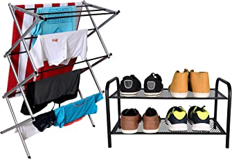 Magna Homewares® Accordion Cloth Drying Stand with Free Home Storage Rack