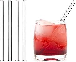 HALM Cannuccia - Cannucce in vetro riutilizzabili - Set di 4 cannucce dritte da 15cm + 1 spazzola per la pulizia - Senza...
