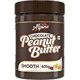 Alpino Chocolate Peanut Butter Smooth 400 G | Made with Roasted Peanuts, Cocoa Powder & Choco Chips | 20% Protein | Non GMO |