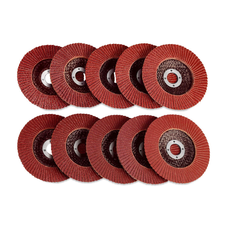 SPTA - Discos solapados con zirconia de 100 mm, 10 unidades de discos de lija de óxido de aluminio con discos de lija de grano 40, 60, 80, 100, 120, 150, 180, 240 para amoladora angular