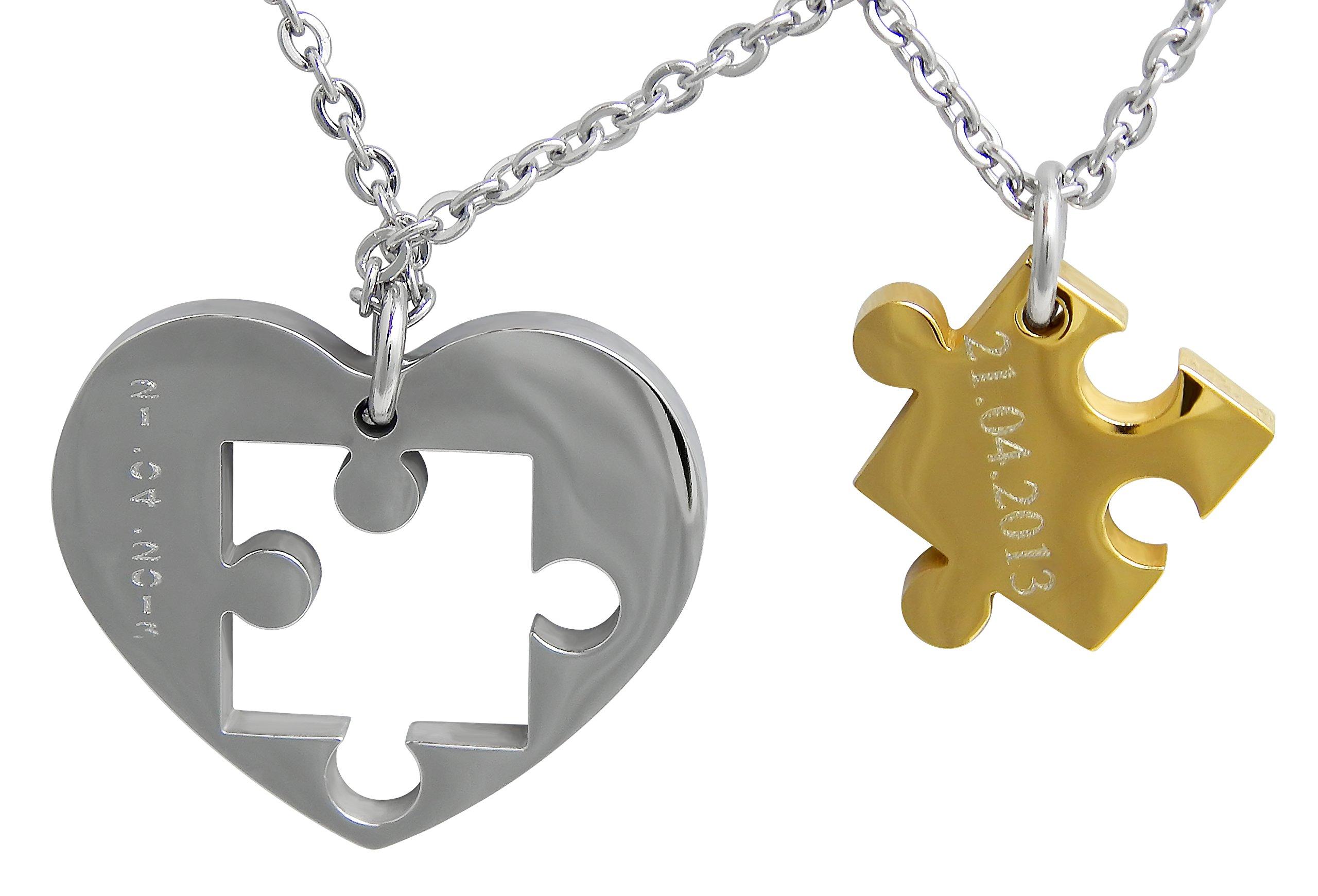 Hanessa Gravierte Puzzle Herz Kette mit Wunsch Gravur Silber Gold Partner-ketten aus Edelstahl in silber Puzzle-Teil Anhänger Schmuck für Paare