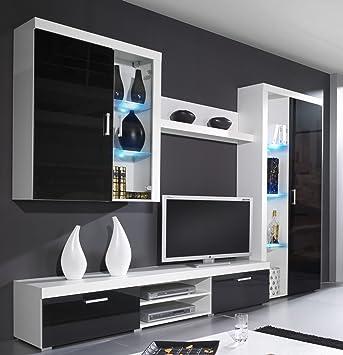 Wohnwand SAMBA Mit LED Beleuchtung Wohnzimmer Mbel Weiss Schwarz Hochglanz Amazonde Kche Haushalt