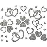 Oblique Unique Herzen Sticker in Rot, Gold oder Silber - Glitter Glitzernde Herzen (Silber)