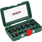 Bosch 15 st. hårdmetallfräs set (för trä, 1/4 tum skaft, tillbehör överfräs)